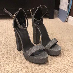 Shoes - GLITTER SILVER HEELS